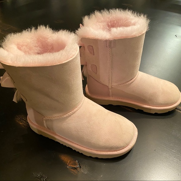UGG Other - Girls Baby Pink UGG Bailey Bow Boots - Size 1